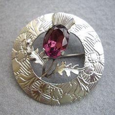 Traditional Vintage Amethyst Glass Scottish Thistle Brooch | eBay