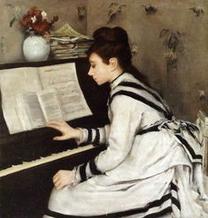 Eva Gonzales:  Secretly Eva Gonzalès (1849-1883),  female Impressionists in Paris. Eva Gonzalez was the daughter of the novelist Emmanuel Gonzalez, a Frenchman of Spanish descent. She was taught by Charles Chaplin who was also Mary Cassatt's teacher. She met Manet in 1869, and was to become his student, colleague and model.