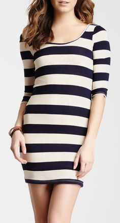 Pink Owl Striped Sweater Dress