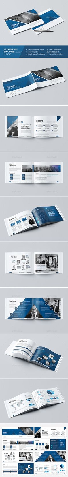 Haweya Landscape Brochure 16 Pages Template 	InDesign INDD
