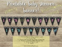FREE printable baby shower chalkboard effect banners! Boy or Girl! www.mishmashbyash.com