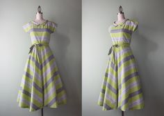 1940s Dress / Vintage 40s Cotton Dress / 50s Lime by HolliePoint