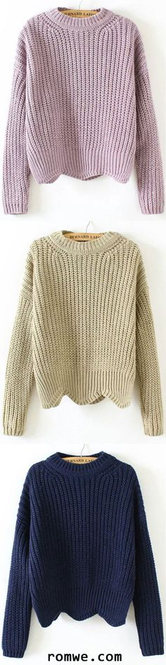 Crew Neck Scalloped Hem Sweater