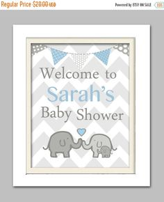 ON SALE: 20% OFF Elephant baby shower decorations by ChicWallArt