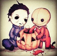 Michael Myers trick r treat Sam horror halloween pumpkin carving Arte Horror, Horror Art, Horror Icons, Horror Drawing, Halloween Horror, Halloween Art, Halloween Stuff, Halloween Clipart, Halloween Movies
