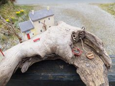 """Ynys Fach Cottage"" - by Trysorau Cymraeg. Handmade in Wales using driftwood and reclaimed materials, including Welsh slate."