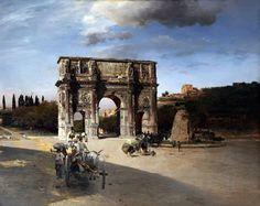 L'Arco di Costantino e la Meta Sudans (olio su tela di Oswald Achembach, 1875 circa)