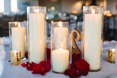 Ivory Room Wedding / Candle Centerpiece / Burgundy Flower Petals / Gold and Ivory Wedding