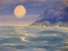 northern landscape watercolor night - mom Icy Norse seaside at night Watercolor Circles, Kids Watercolor, Watercolor Landscape, Watercolor Paintings, Landscape Artwork, Landscape Illustration, Cool Landscapes, Wet On Wet Painting, Painting & Drawing