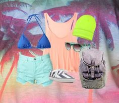 Forever 21 spring break outfit-- <3<3in the backpack