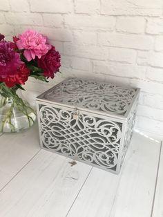 Silver Wedding Card Box With Slot Lock Wedding money box | Etsy