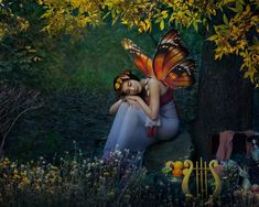 Butterfly Fairy, Butterfly Wings, Autumn Fairy, Photo Series, Mythical Creatures, Body Painting, Cute Pictures, Fantasy Art, Art Pieces