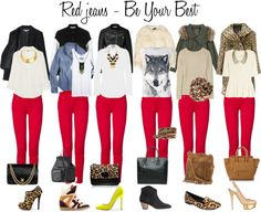 TENDENCIA: JEAN ROJO, armè el set con varias opciones de looks! Cuàl o cualès son tus looks preferidos? Red Jeans Outfit, Legging Outfits, Jean Outfits, Fall Outfits, Casual Outfits, Cute Outfits, Fashion Outfits, Coral Pants Outfit, Fashion Scarves
