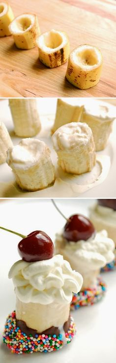 Banana Split Bites - so cute for a dessert recipe or kids party too