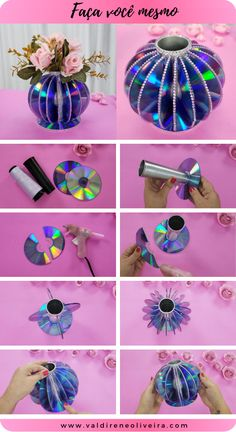 Upcycled Crafts, Old Cd Crafts, Diy Crafts For Kids Easy, Diy Crafts For Gifts, Creative Crafts, Crafts To Sell, Decor Crafts, Arts And Crafts, Art N Craft