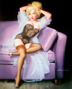 Gorgeous lingerie on a gorgeous pin-up! Love the purple couch!