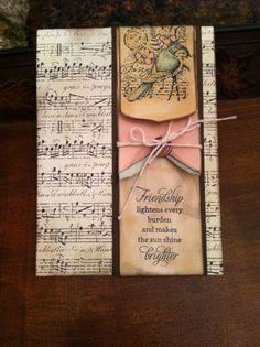 Stampin Up Garden Collage Vintage Card Kit Bird Music Distressed