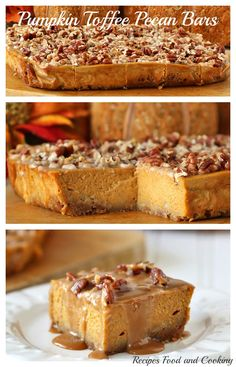 Pumpkin Toffee Pecan Bars have a gingersnap crust, a creamy pumpkin filling and then it's topped with toasted pecans and toffee. Easy to make and perfect for Thanksgiving! - Recipes, Food and Cooking