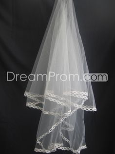 2-Layer Elbow Wedding Veils with Lace Applique Edge