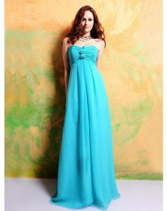 2012 Spring Style Sheath / Column Strapless Hand-Made Flower Sleeveless Floor-length Chiffon Bridesmaid Dresses / Prom Dresses / Evening Dresses (SZ019664 )