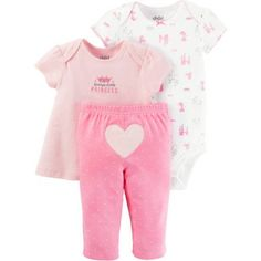 Child of Mine By Carters Newborn Baby Girl Tshirt, Bodysuit, and Pant Set, Size: 3 - 6 Months, Pink