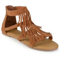 Journee Collection Zana Fringe Gladiator Sandals (3.240 RUB) ❤ liked on Polyvore featuring shoes, sandals, zipper sandals, boho sandals, gladiator shoes, roman sandals and open toe gladiator sandals
