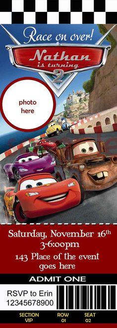 Invitación de cumpleaños de Cars de Disney. Invitación de Cars