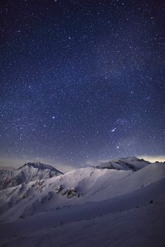 There are few things more awe inspiring than a clear sky painted thick with stars. Tateyama Mountain range, Japan