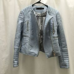 Faux leather biker jacket Baby blue faux leather biker jacket from Zara. Barely worn. In excellent condition. Zara Jackets & Coats