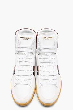 SAINT LAURENT Burgundy Classic Leather-Trimmed High-Top Sneakers