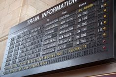 Image of 'A schedule board in a train station with information telling the time and destinations for travelers'