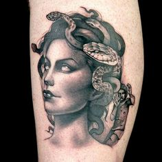 Kelly Doty hit composition out of the park with her Medusa tattoo, securing the season's first Tattoo of the Day.
