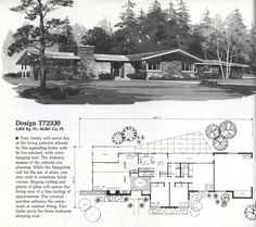 Home Planners Design Vintage House Plans, Modern House Plans, Vintage Homes, Modern Houses, Vintage Architecture, Architecture Plan, Craftsman Ranch, Mcm House, Home Planner