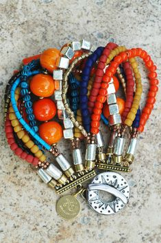 "♥  Moroccan-Inspired ""Marrakesh"" -   Orange, Yellow, Blue and Red Glass, Porcelain, Wood, Silver, Copper, Brass & Designer Bronze Toggle Multi-Strand Cuff-Style Bracelet 