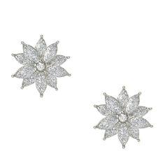 Silver Glitter Flower Clip-on Stud Earrings
