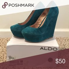 A pair of comfortable wedges! Teal colored. Suede 5 inch wedges. Aldo Shoes Wedges