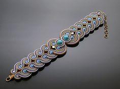 Turquoise Purple Beige Soutache bracelet with от ANBijou на Etsy Soutache Bracelet, Soutache Jewelry, Wire Jewelry, Boho Jewelry, Beaded Jewelry, Jewelery, Handmade Jewelry, Beaded Necklace, Handmade Necklaces