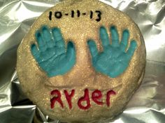 """hand/foot mold (do not eat)! """"love this! made a mold of my sons feet when he was first born. Now that he just turned 6 months I did his hand print :)""""  @allthecooks #recipe #kids #crafts #easy #fun #craft"""