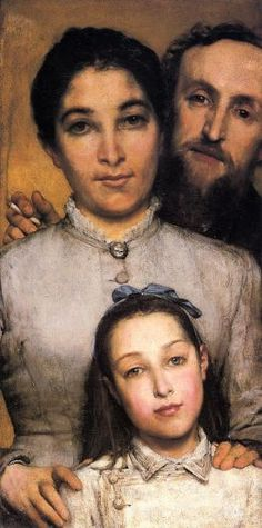 Portrait of Aime-Jules Dalou, his Wife and Daughter - Lawrence Alma Tadema 1876