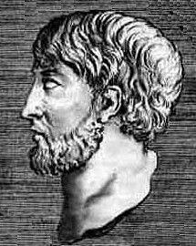 """Anaxímenes fue un filósofo griego. Nació en Mileto. Fue discípulo de Tales y de Anaximandro, coincidiendo con él en que el principio de todas las cosas (y también el substrato que permanece invariable ante todos los cambios y el fin, o """"telos"""" al que todo vuelve) es infinito; aunque, a diferencia del ápeiron de su mentor, nos habla de un elemento concreto: el aire."""