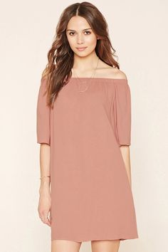 Forever 21 Contemporary - A crepe woven shift dress featuring an elasticized off-the-shoulder neckline and 3/4 sleeves. #f21contemporary