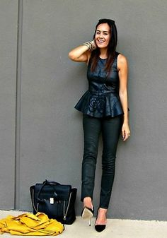 cool metallic-y peplum + bag.