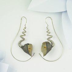 Spiral earrings white wedding flower earrings silver