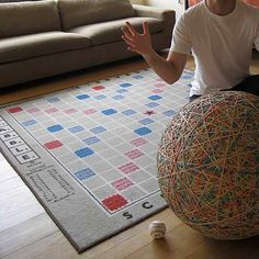 Scrabble Rug - thanks Mum for making me a geek!!!<-----Does ANYONE else notice the insanely large rubber band ball or is that just me?????