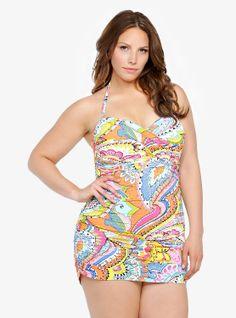 4f32a2eaf78 Anne Cole Signature Paisley Twist-Front Swim Dress at Amazon Women s  Clothing store  Plus SwimwearPlus Size ...