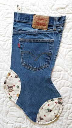 "Recycled Levis Blue Jeans Christmas Stocking 20"", sold for $19.99 in Sept. 2014"