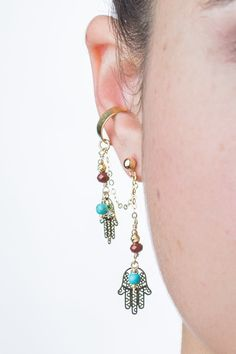 Gold Hamsa ear cuff dangling earring by AdiMiraroJewelry