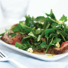 Watercress Salad with Steak, Sauted Shallots  Stilton