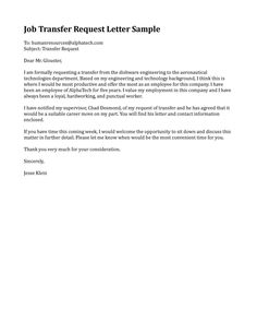 Sample Job Transfer Request Letter Templates Free Example Format