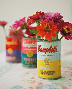 Andy Worhol soup can vases! Awesomely retro!
